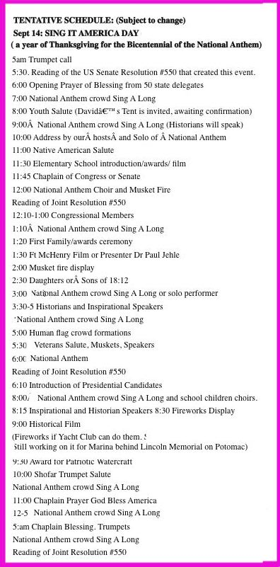 schedule for Sing It America