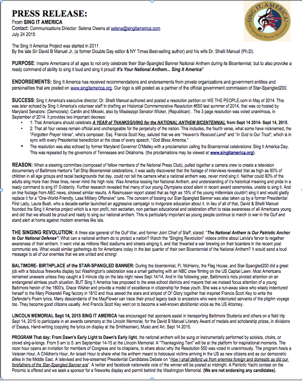 PRESS RELEASE Presented at our SIA Lunch at the National Press CLub Friday July 24, 2015